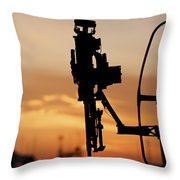 Silhouette Of A M240g Medium Machine Throw Pillow by Terry Moore