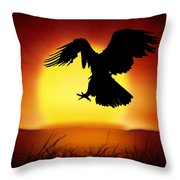 Silhouette Of Eagle Throw Pillow by Setsiri Silapasuwanchai