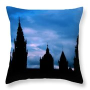 Silhouette Of Spanish Church Throw Pillow by Jasna Buncic