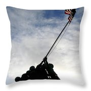 Silhouette Of The Iwo Jima Statue Throw Pillow by Michael Wood
