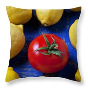 Single Tomato With Lemons Throw Pillow by Garry Gay