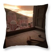 Sky And Sea Are An Inspiring Backdrop Throw Pillow by Travis Dove