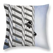 Skyscraper Window-washers - Take A Walk In The Clouds Throw Pillow by Christine Till