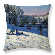Sledging Near Youlgreave Throw Pillow by Andrew Macara