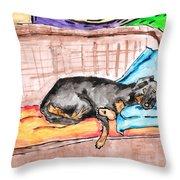 Sleeping Rottweiler Dog Throw Pillow by Jera Sky