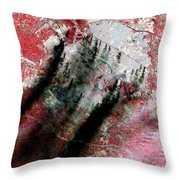 Smoke Plumes Over Baghdad, Iraq Throw Pillow by NASA / Science Source