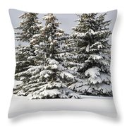 Snow Covered Evergreen Trees Calgary Throw Pillow by Michael Interisano