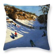 Snow In The Valley Throw Pillow by Andrew Macara