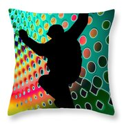 Snowboard In Cosmic Snowstorm Throw Pillow by Elaine Plesser