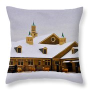 Snowy Day At Erdenheim Farm Throw Pillow by Bill Cannon