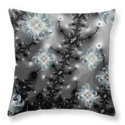 Snowy Night II Fractal Throw Pillow by Betsy Knapp