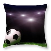 Soccer Ball On Grass Against Black Throw Pillow by Sandra Cunningham