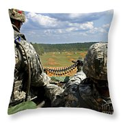 Soldier Feeds Ammunition To His Gunner Throw Pillow by Stocktrek Images