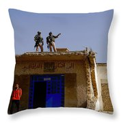 Soldiers Discuss The New Iraqi Police Throw Pillow by Stocktrek Images