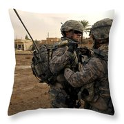 Soldiers Help One Another Throw Pillow by Stocktrek Images