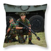 Soldiers Of An Infantry Unit Throw Pillow by Luc De Jaeger