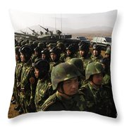 Soldiers With The Peoples Liberation Throw Pillow by Stocktrek Images