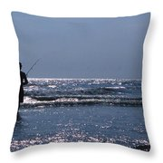 Solitary Angler Throw Pillow by Skip Willits