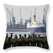 Southampton Old Pier And Docks Throw Pillow by Jane Rix