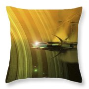 Space Battle With Two Rival Factions Throw Pillow by Corey Ford