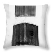 Spanish Fort Door Castillo San Felipe Del Morro San Juan Puerto Rico Prints Black and White Throw Pillow by Shawn O'Brien