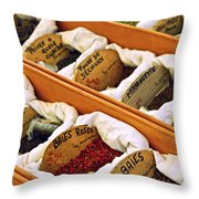 Spices On The Market Throw Pillow by Elena Elisseeva