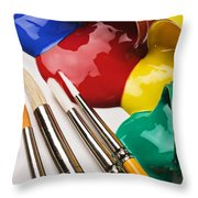 Spilt Paint And Brushes  Throw Pillow by Garry Gay