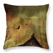 Spooky House At Sunset  Throw Pillow by Sandra Cunningham
