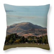 Sport Complex And The Butte Throw Pillow by Robert Bales