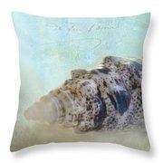 Spotted Auger Seashell Throw Pillow by Betty LaRue