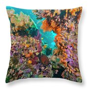 Spotted Goldring Surgeonfish And Coral Throw Pillow by Beverly Factor