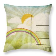 Spring And Summer Postcard Throw Pillow by Setsiri Silapasuwanchai
