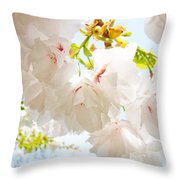 Spring White Pink Tree Flower Blossoms Throw Pillow by Baslee Troutman