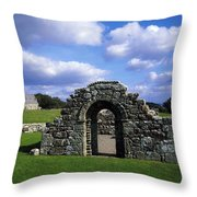 St Brigids Church, Inis Cealtra Holy Throw Pillow by The Irish Image Collection