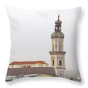 St. George In Snow - Freising Bavaria Germany Throw Pillow by Christine Till