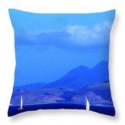 St Kitts Sailing Throw Pillow by Thomas R Fletcher