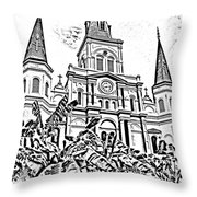 St Louis Cathedral Rising Above Palms Jackson Square New Orleans Photocopy Digital Art Throw Pillow by Shawn O'Brien