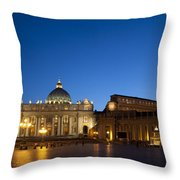 St. Peter's Basilica at Night Throw Pillow by David Smith