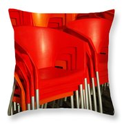 Stacked Chairs Throw Pillow by Carlos Caetano