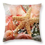 Starfish And Pink Roses Throw Pillow by Andee Design