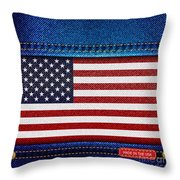 Stars and Stripes denim Throw Pillow by Jane Rix