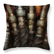 Steampunk - Pipes Throw Pillow by Mike Savad