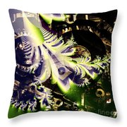 Steampunk Abstract Fractal . Square . S2 Throw Pillow by Wingsdomain Art and Photography