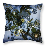 Steampunk Gears - Time Destroyed Throw Pillow by Paul Ward