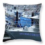 Steelhead and Fishing Boats Throw Pillow by Jeff Lowe