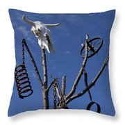 Steer Skull In Tree Throw Pillow by Garry Gay