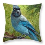 Stellar Jay Throw Pillow by Dee Carpenter