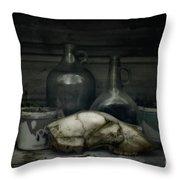 Still Life With Bear Skull Throw Pillow by Priska Wettstein