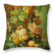Still Life With Fruit And Flowers Throw Pillow by Jan van Os
