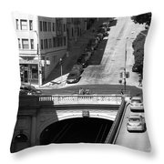 Stockton Street Tunnel Midday Late Summer In San Francisco . Black And White Photograph 7d7499 Throw Pillow by Wingsdomain Art and Photography